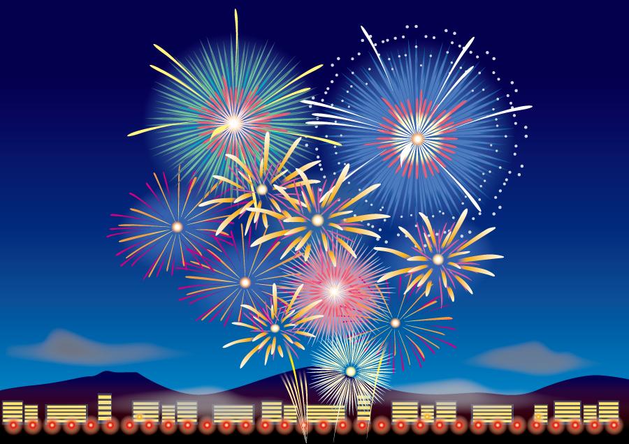 フリーイラスト 街の夜空に打ち上げられる花火の背景