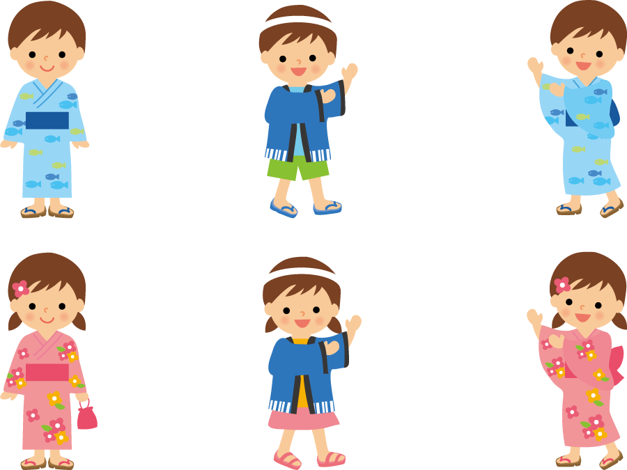フリーイラスト 盆踊りを踊る男の子と女の子のセット