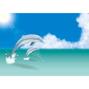 フリーイラスト, ベクター画像, AI, 風景, 自然, 海, 青空, 積乱雲(入道雲), 動物, 哺乳類, イルカ, ジャンプ(動物), 太陽光(日光)