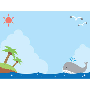 フリーイラスト, ベクター画像, AI, 背景, 海, 島, 椰子(ヤシ), 積乱雲(入道雲), 夏, 鴎(カモメ), 太陽, 鯨(クジラ)