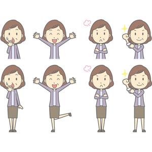 フリーイラスト, ベクター画像, AI, 人物, 中年女性, 中年女性(00267), 気付く, 失敗, 万歳(バンザイ), 喜ぶ(嬉しい), 腕を組む, 怒る, 腕をまくる, 頑張る, やる気