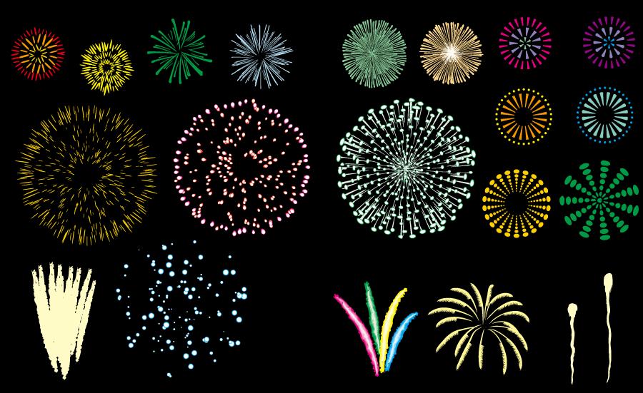 フリーイラスト 20種類の打ち上げ花火のセット