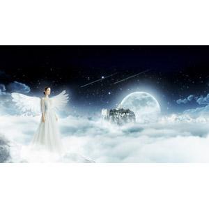 フリー写真, フォトレタッチ, 天使(エンジェル), 城, 月, 三日月, 星(スター), 流れ星(流星), 雲海