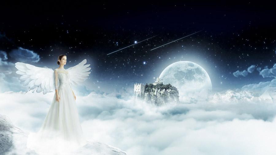 フリー写真 雲海と流れ星と月と城と天使姿の女性