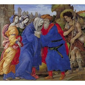 フリー絵画, フィリッピーノ・リッピ, 宗教画, キリスト教, ヨアキム(マリアの父), アンナ(マリアの父), 金門の出会い, 夫婦