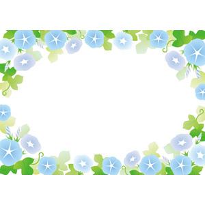 フリーイラスト, ベクター画像, AI, 背景, フレーム, 囲みフレーム, 植物, 花, 朝顔(アサガオ), 青色の花, 夏