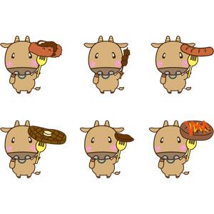 フリーイラスト, ベクター画像, EPS, 動物, 哺乳類, 牛(ウシ), 食べ物(食料), 料理, 肉料理, 牛肉料理, ハンバーグ, コロッケ, ステーキ, 焼肉(焼き肉), ソーセージ(ウィンナー), 串焼き