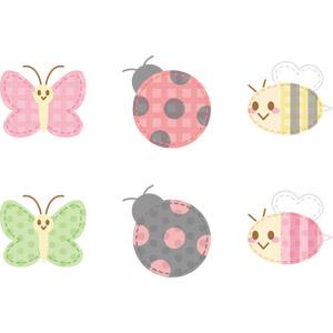 フリーイラスト, ベクター画像, AI, アップリケ(ワッペン), 動物, 昆虫, 蝶(チョウ), てんとう虫(テントウムシ), 蜜蜂(ミツバチ), 蜂(ハチ)