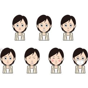フリーイラスト, 人物, 女性, ビジネス, 仕事, 職業, ビジネスウーマン, 困る, 焦る, 怒る, 照れる, 衛生マスク, 笑う(笑顔)