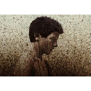 フリー写真, フォトレタッチ, 泥, 汚れ, 飛沫(しぶき), 人物, 少年, 横顔, 目を閉じる