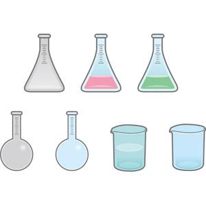 フリーイラスト, ベクター画像, AI, 実験器具, 丸底フラスコ, 三角フラスコ, ビーカー, 科学, 理科, 化学