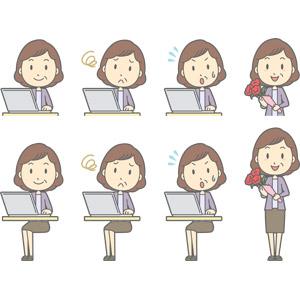 フリーイラスト, ベクター画像, AI, 人物, 中年女性, 中年女性(00267), パソコン(PC), ノートパソコン, 困る, 焦る, 母の日, 5月, 花束, カーネーション