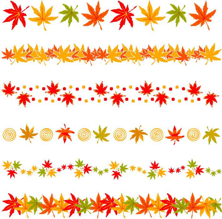 フリーイラスト 6種類のもみじの葉のラインのセット
