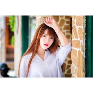 フリー写真, 人物, 女性, アジア人女性, 欣欣(00001), 中国人, 頭に手を当てる