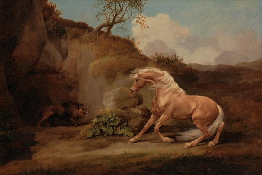 フリー絵画 ジョージ・スタッブス作「ライオンにおびえる馬」