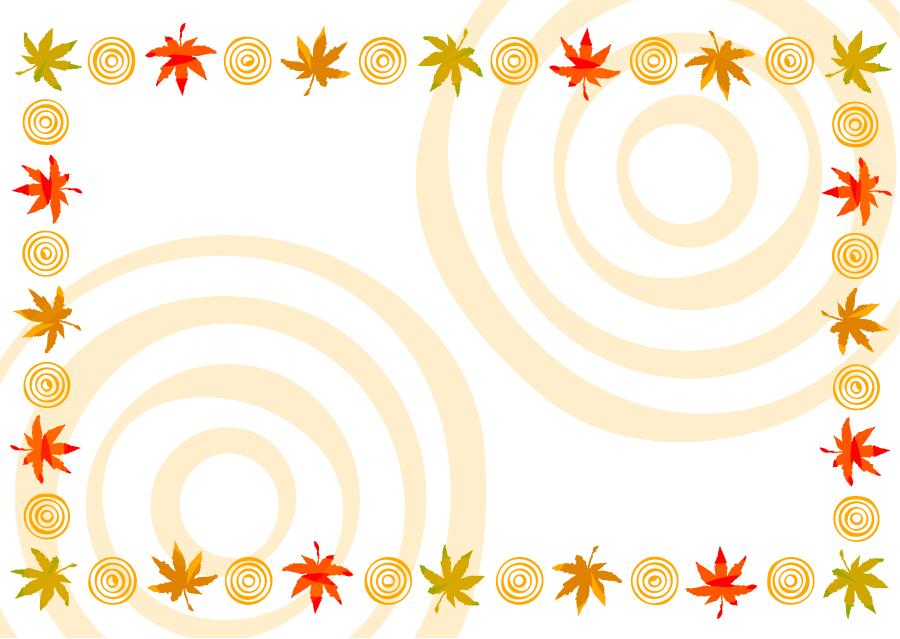 フリーイラスト 紅葉したもみじと波紋の飾り枠