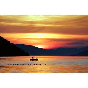 フリー写真, 風景, 山, 海, 夕暮れ(夕方), 夕焼け, 船, ボート, 漁師, 鳥(トリ), 群れ