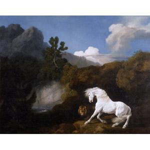 フリー絵画, ジョージ・スタッブス, 動物画, 哺乳類, 馬(ウマ), ライオン, 怖い(恐い), 白馬