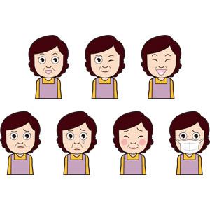 フリーイラスト, 人物, 中年女性, ウインク, 笑う(笑顔), 泣く(泣き顔), 照れる, 衛生マスク