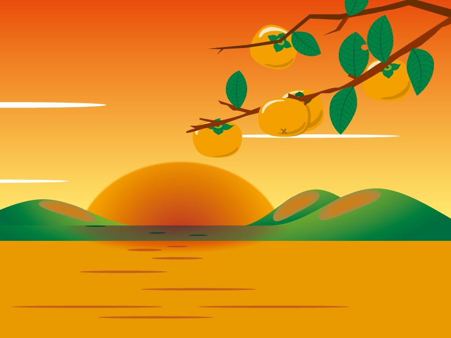 フリーイラスト 木の枝の柿の夕焼けの風景