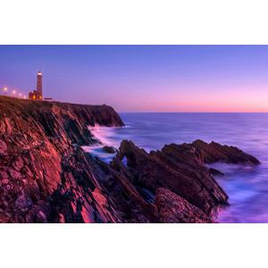 フリー写真, 風景, 海, 海岸, 夕暮れ(夕方), 灯台(ライトハウス), ポルトガルの風景