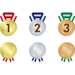フリーイラスト, ベクター画像, AI, メダル, 金メダル, 勲章, 賞, 一位(優勝), 銀メダル, 銅メダル, 二位, 三位
