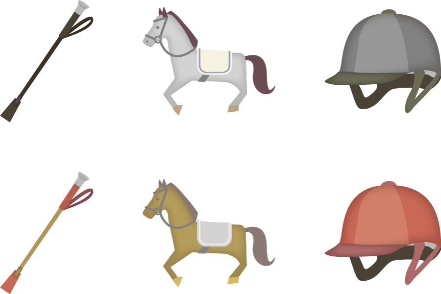 フリーイラスト 馬と鞭とヘルメットの乗馬のセット