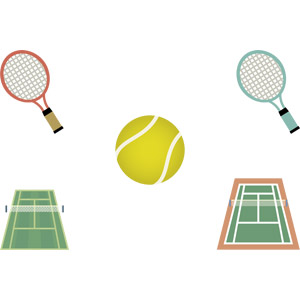 フリーイラスト, ベクター画像, AI, スポーツ, 球技, テニス, テニスボール, テニスコート, テニスラケット