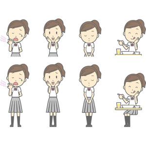 フリーイラスト, ベクター画像, AI, 人物, 少女, 少女(00270), 学生(生徒), 高校生, 学生服, 欠伸(あくび), 照れる, 頬に手を当てる, お辞儀, 頭を下げる, 挨拶, 食事, 食べる, 謝罪, 謝る(ゴメン)