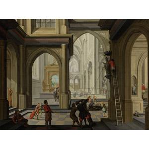 フリー絵画, ダーク・ファン・デレン, 歴史画, 建造物, 建築物, 教会(聖堂), 破壊, イコノクラスム, 彫像, 宗教画, 梯子(はしご)