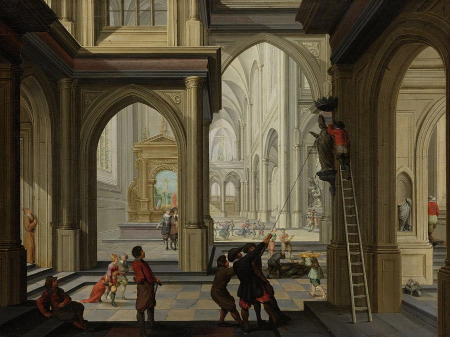 フリー絵画 ダーク・ファン・デレン作「教会でのイコノクラスム」
