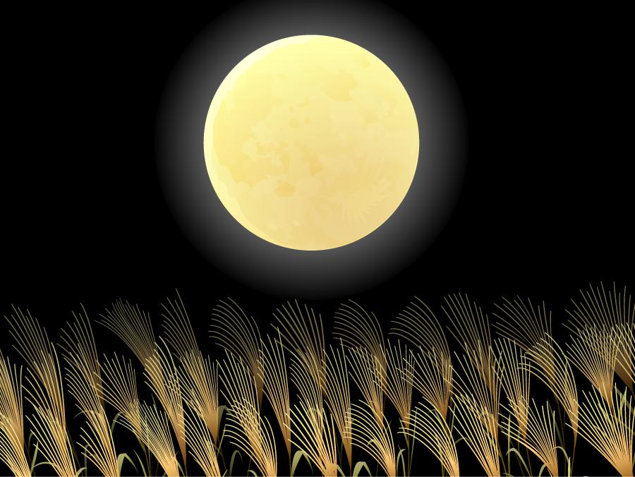フリーイラスト ススキと満月の十五夜の背景