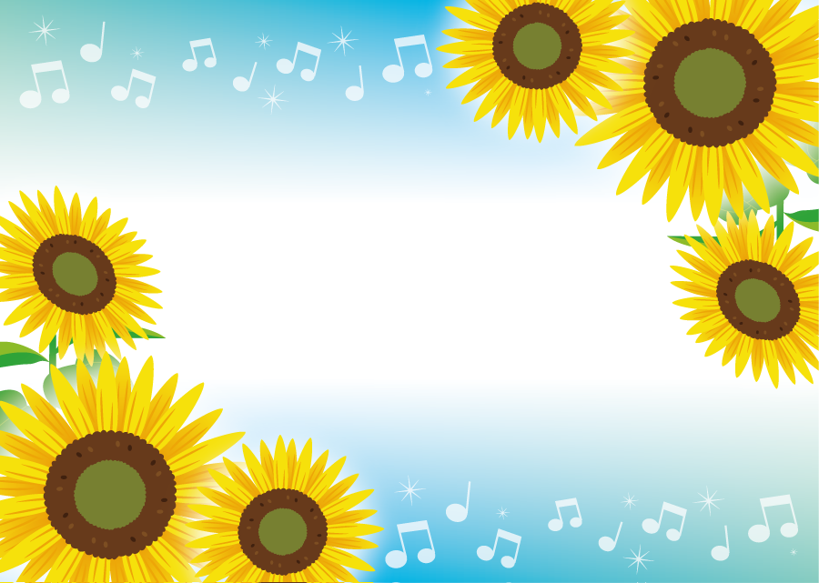 フリーイラスト ひまわりの花と音符の飾り枠