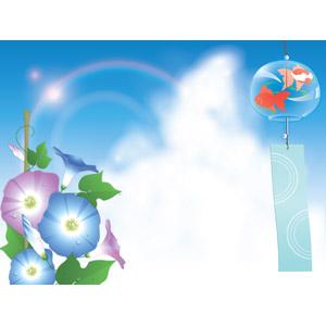 フリーイラスト, ベクター画像, AI, 背景, 夏, 風鈴, 朝顔(アサガオ), 積乱雲(入道雲), 雲, 水滴(雫), 青空, 太陽光(日光)