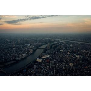 フリー写真, 風景, 建造物, 建築物, 高層ビル, 都市, 街並み(町並み), 河川, 日本の風景, 東京都, 隅田川, 朝