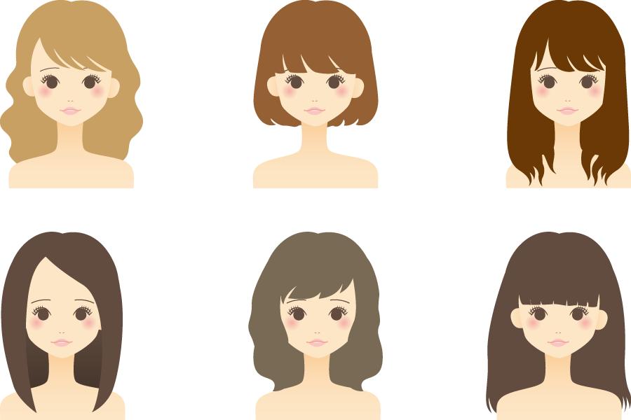 フリーイラスト ヘアスタイルの違う6人の女性のセット