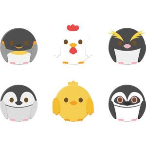 フリーイラスト, ベクター画像, AI, 動物, 鳥類, 雛(ヒナ), 鶏(ニワトリ), ひよこ(ヒヨコ), ペンギン, 皇帝ペンギン, イワトビペンギン, フンボルトペンギン