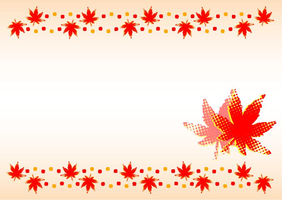 フリーイラスト 紅葉したモミジの葉の飾り枠