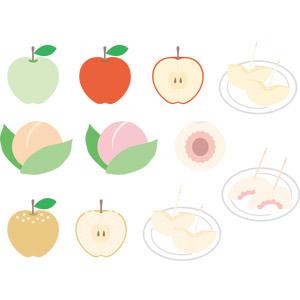 フリーイラスト, ベクター画像, EPS, 食べ物(食料), 果物(フルーツ), 梨(ナシ), リンゴ, 青リンゴ, 桃(モモ)