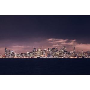 フリー写真, 風景, 建造物, 建築物, 高層ビル, 都市, 街並み(町並み), 夜, 夜景, アメリカの風景, サンフランシスコ, カリフォルニア州