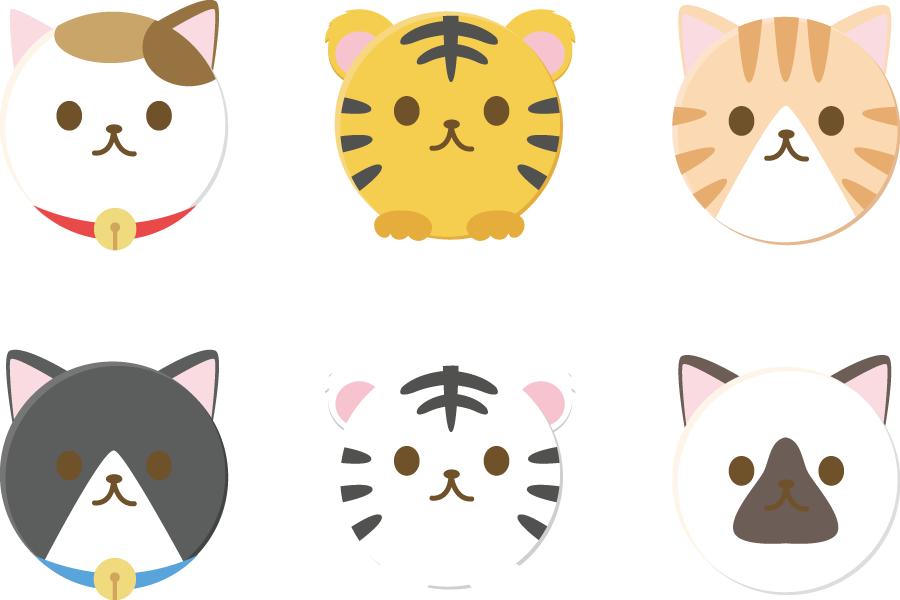 フリーイラスト 猫と虎の丸い動物のセット