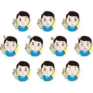 フリーイラスト, 人物, 男性, 指差す, ウインク, アドバイス, 左上を指す, 冷や汗をかく, 閃く, 気付く, 分からない, 困る, 焦る, 怒る, 笑う(笑顔)