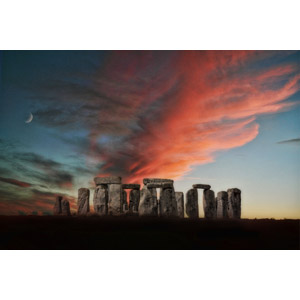 フリー写真, 風景, 建造物, 遺跡, イギリス, イングランド, 世界遺産, 夕暮れ(夕方), 夕焼け, 雲, 三日月