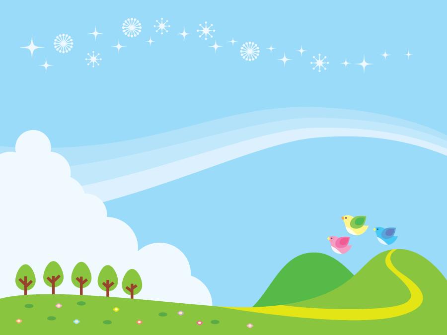 フリーイラスト 青空と小鳥と丘の背景