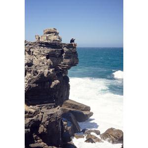 フリー写真, 風景, 海岸, 崖, 岩, 海, 人と風景, 眺める