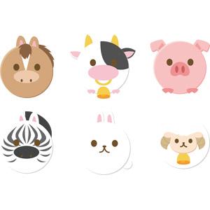 フリーイラスト, ベクター画像, AI, 動物, 哺乳類, 馬(ウマ), シマウマ, 牛(ウシ), 兎(ウサギ), 豚(ブタ), 羊(ヒツジ)