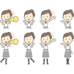 フリーイラスト, ベクター画像, AI, 人物, 少女, 少女(00270), 学生(生徒), 高校生, 学生服, 応援する, メガホン(拡声器), 案内する, ガッツポーズ, ワクワク