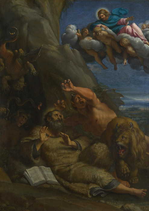 フリー絵画 アンニーバレ・カラッチ作「聖大アントニオスの前に現れるキリスト」