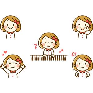 フリーイラスト, 人物, 子供, 女の子, 女の子(00272), あっかんべー, 音楽, 演奏する, ピアノ, 喜ぶ(嬉しい), 怒る
