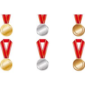 フリーイラスト, ベクター画像, AI, メダル, 金メダル, 勲章, 賞, 金, 一位(優勝), 銀メダル, 銅メダル, 二位, 三位, オリンピック, 月桂冠